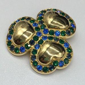 Swarovski Crystal Heart Clover Pin Brooch Blue +